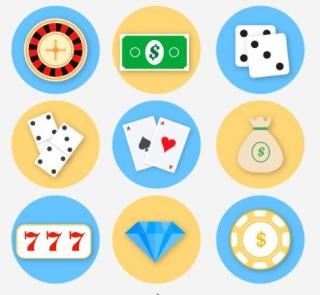 Piirrettyjä kuvia nopista, pelimerkeistä, seteleistä, pelikorteista, timantista, rulettipyörästä ja kolmesta seiskasta